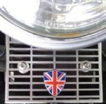 Triumph Rectifier Guard 'Union Flag' Logo Shield. Bonneville Thruxton Scrambler. 2002/15. Matt Chrome.